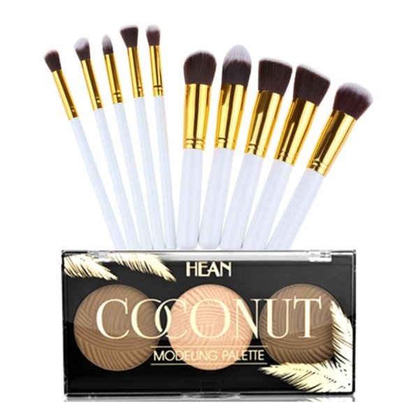 10 Piece white and gold kabuki brush set + coconut contouring palette 2